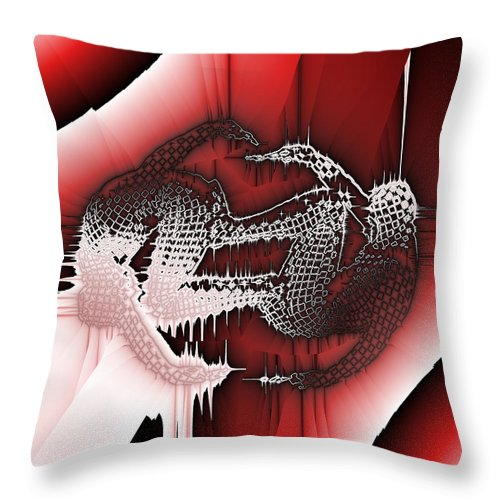 Abstract Throw Pillow featuring the digital art Capoeira 9 by Jack Bowman