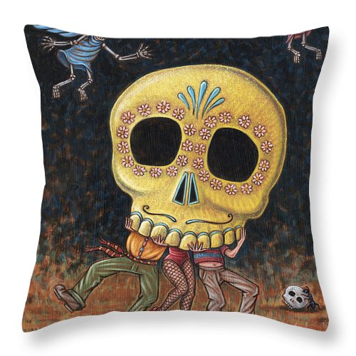 Skeletons Throw Pillow featuring the painting Caprichos Calaveras #2 by Holly Wood