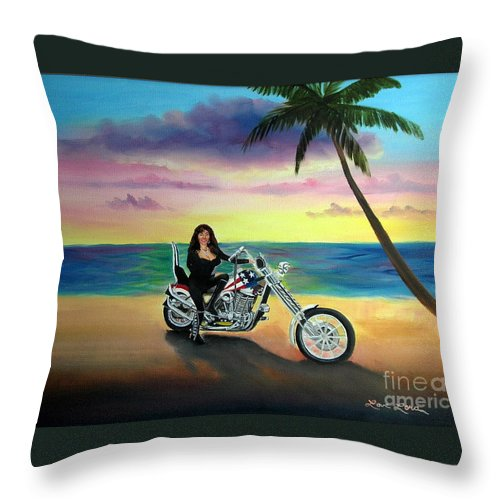 Harley Davidson Throw Pillow featuring the painting Captain America by Lora Duguay