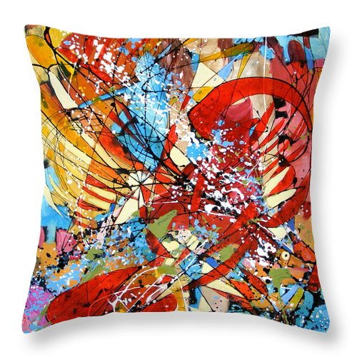 Abstract Throw Pillow featuring the painting Captiva In Timp by Elena Bissinger