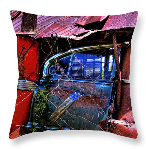 Junk Castle Throw Pillow featuring the photograph Car Door by David Patterson