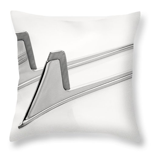 Logo Throw Pillow featuring the photograph Car Emblem/hood Ornament by Don Johnson