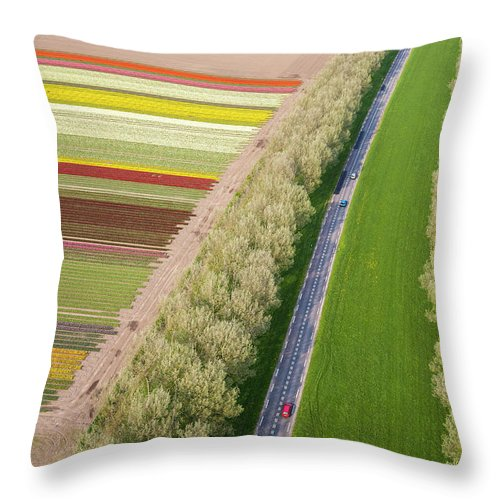 Scenics Throw Pillow featuring the photograph Car On Road Near Tulip Fields, Holland by Peter Adams