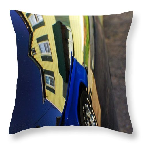 Cars Throw Pillow featuring the photograph Car Reflection 6 by Karl Rose