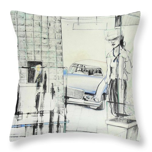 Carcrash Throw Pillow featuring the drawing Carcrash by Lucia Hoogervorst