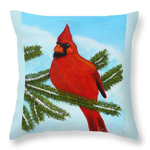 Cardinal Throw Pillow featuring the painting Cardinal by Anthony Dunphy