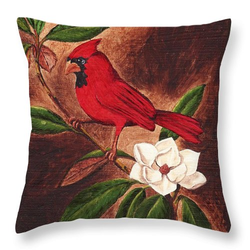 Birds Throw Pillow featuring the painting Cardinal II by Brandy House