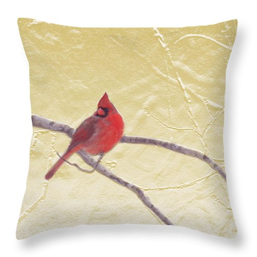 Nature Throw Pillow featuring the mixed media Cardinal In Gold Leaf by Steve Karol