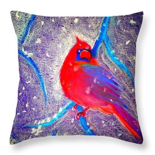 Cardinal In Snow Throw Pillow featuring the painting Cardinal In Snow by Sue Jacobi