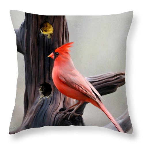 Cardinal Throw Pillow featuring the digital art Cardinal by Mary Vandenberg