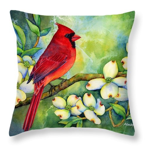 Cardinal Throw Pillow featuring the painting Cardinal on Dogwood by Hailey E Herrera