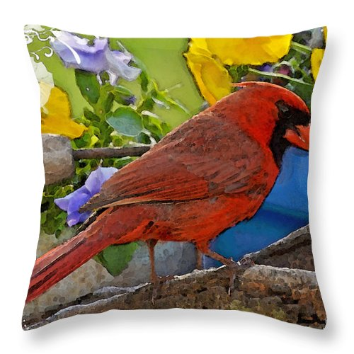 Nature Throw Pillow featuring the digital art Cardinal With Pansies And Decorations Photoart by Debbie Portwood