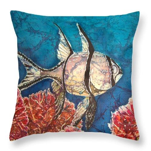Cardinalfish Throw Pillow featuring the painting Cardinalfish by Sue Duda