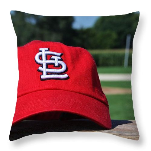 Saint Louis Throw Pillow featuring the photograph Cardinals In Iowa by Christopher Miles Carter