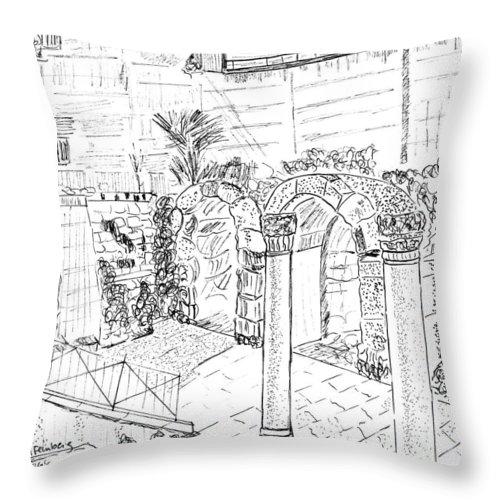 Cardo Throw Pillow featuring the painting Cardo by Linda Feinberg