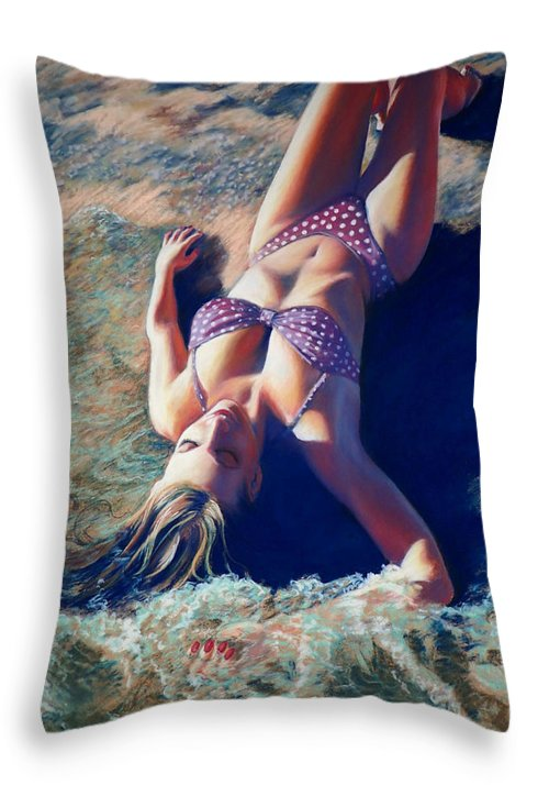 Beach Throw Pillow featuring the painting Caressing Tides by Mary Knape