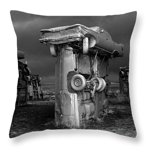 Carhenge Throw Pillow featuring the photograph Carhenge 3 by Bob Christopher