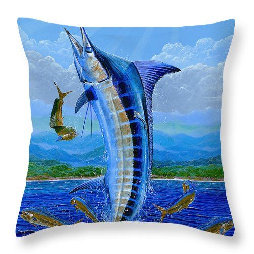 Blue Marlin Throw Pillow featuring the painting Caribbean Blue Off0041 by Carey Chen