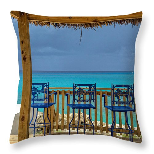 Sky Throw Pillow featuring the photograph Caribbean View-island Grill Grand Cayman by Eti Reid