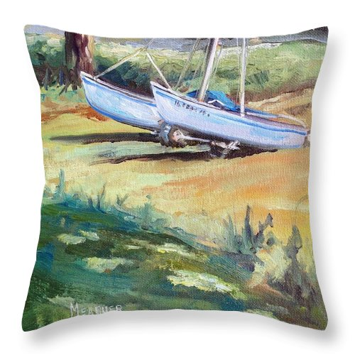 Sailing Throw Pillow featuring the painting Carlyle Catamaran by Spencer Meagher