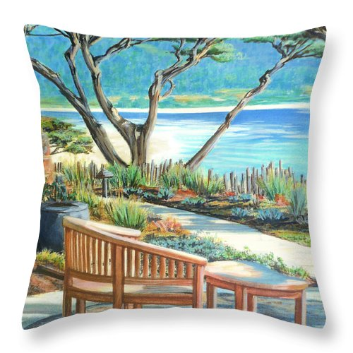 Carmel Throw Pillow featuring the painting Carmel Lagoon View by Jane Girardot
