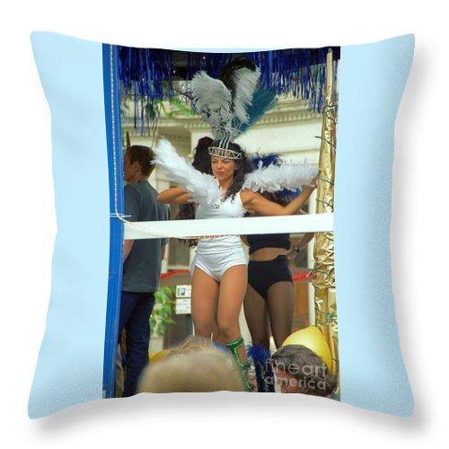 Girl Throw Pillow featuring the photograph Carnival Girl In Costume Social Occcasion by Richard Morris