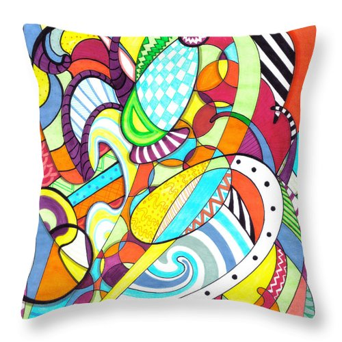 Carnival Throw Pillow featuring the drawing Carnival by Shawna Rowe