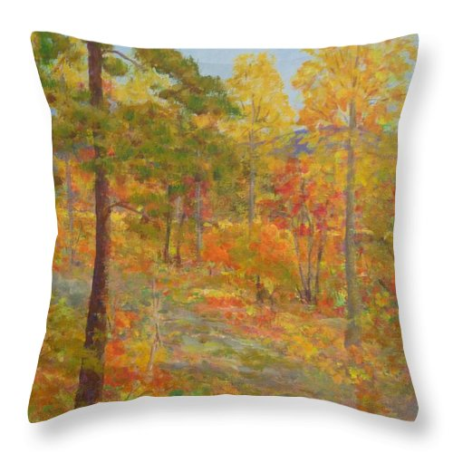 Pantone 2017 Greenery Throw Pillow featuring the painting Carolina Autumn Gold by Gail Kent