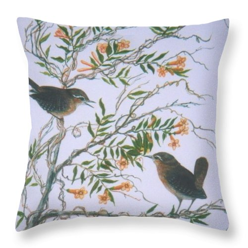 Bird; Flowers Throw Pillow featuring the painting Carolina Wren And Jasmine by Ben Kiger