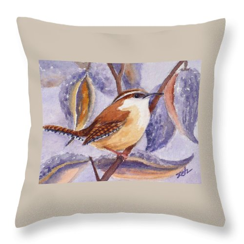 Wren Print Throw Pillow featuring the painting Carolina Wren And Milkweed Pods by Janet Zeh
