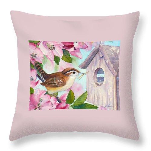Carolina Wren Painting Throw Pillow featuring the painting Carolina Wren In Springtime by Janet Zeh