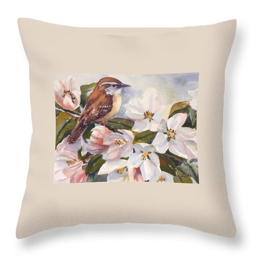 Bird Throw Pillow featuring the painting Carolina Wren by Janet Zeh