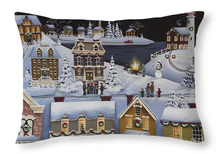 Art Throw Pillow featuring the painting Caroling in Winterberry by Catherine Holman
