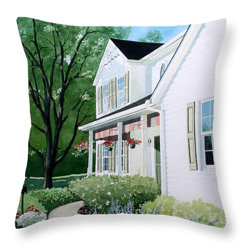 House Throw Pillow featuring the painting Carols Place by Jim Gerkin