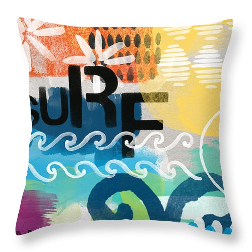 Surf Throw Pillow featuring the painting Carousel #7 SURF - contemporary abstract art by Linda Woods