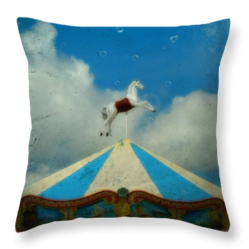 Carnival Throw Pillow featuring the photograph Carousel Day by Gothicrow Images