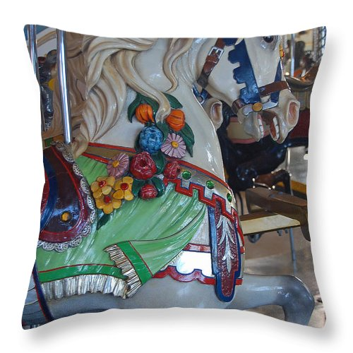 Carousel Horse Throw Pillow featuring the photograph Carousel Horse by Suzanne Gaff