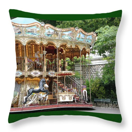 Paris Throw Pillow featuring the photograph Carousel In Paris by Ann Horn