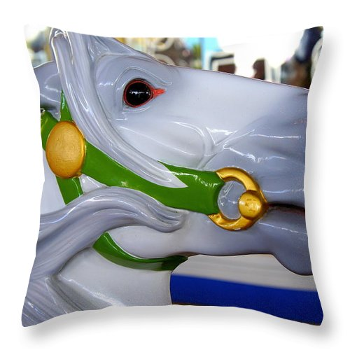 Carousel Throw Pillow featuring the photograph Carousel by Laurie Perry