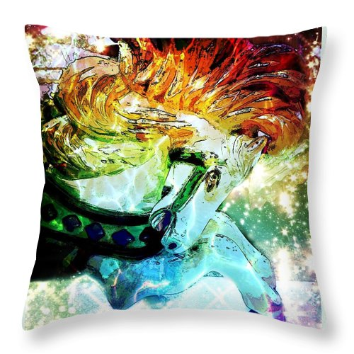 Carousel Throw Pillow featuring the digital art Carousel Sparkle by Patty Vicknair