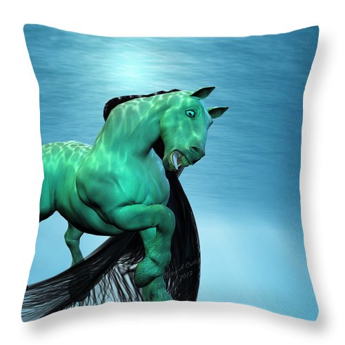 Horse Throw Pillow featuring the digital art Carousel Vi by Betsy Knapp
