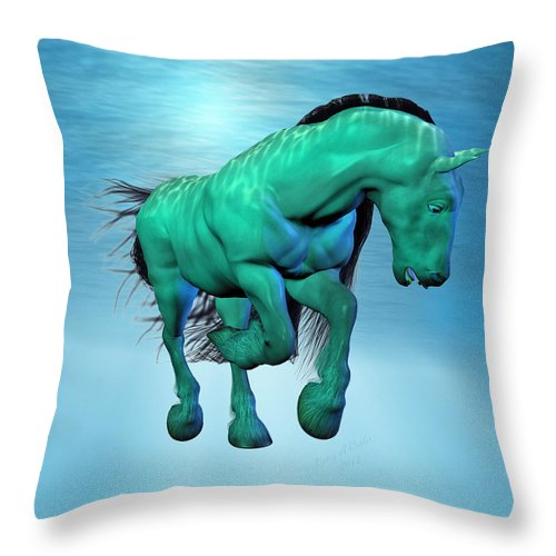 Horse Throw Pillow featuring the digital art Carousel Xii by Betsy Knapp