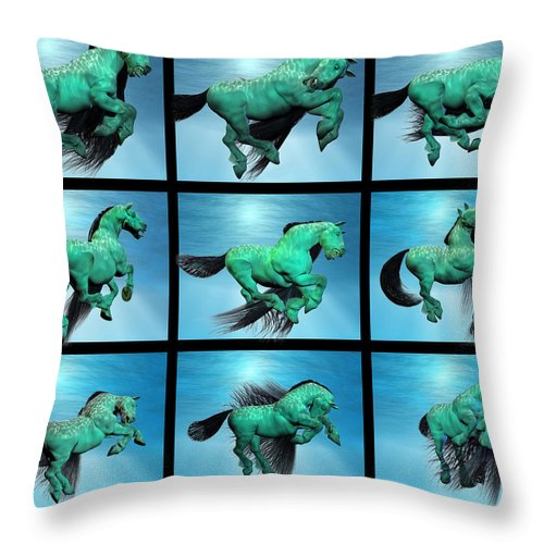 Horse Throw Pillow featuring the digital art Carousel Xiii by Betsy Knapp