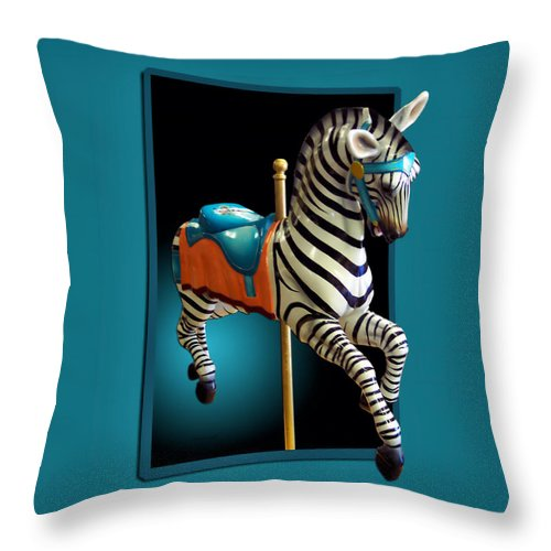 Carousel Animal Throw Pillow featuring the photograph Carousel Zebra by Thomas Woolworth