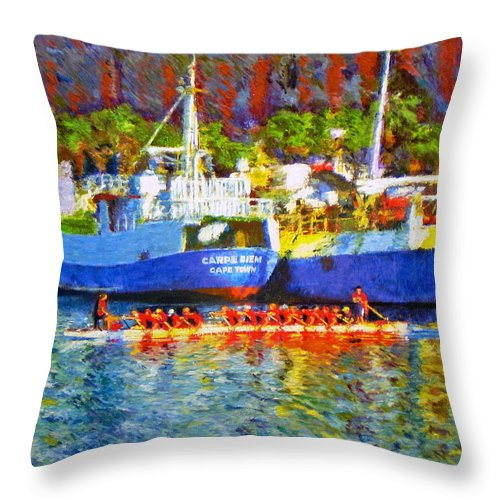 Boat Throw Pillow featuring the painting Carpe Diem by Michael Durst