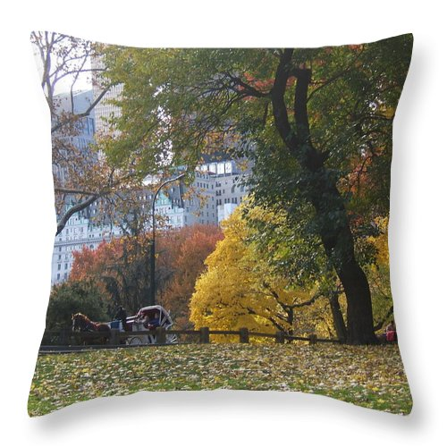 central Park Throw Pillow featuring the photograph Carriage Ride Central Park In Autumn by Barbara McDevitt