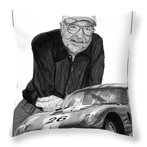 Prints Of Carroll Shelby And Shelby Cobra Daytona Number 26 Throw Pillow featuring the drawing Carroll Shelby  Rest In Peace by Jack Pumphrey