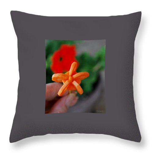 Food Throw Pillow featuring the photograph Carrot Flower by Marija Djedovic