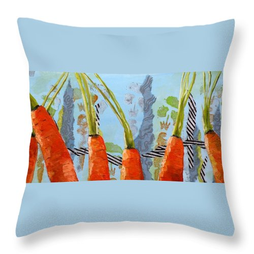 Carrots Throw Pillow featuring the painting Carrots by Saundra Lane Galloway