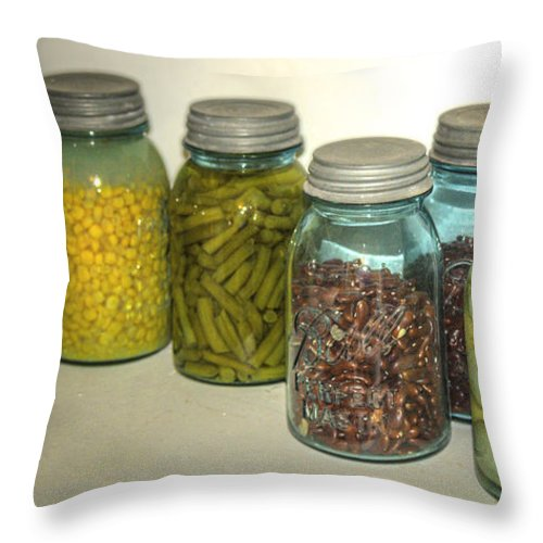 Usa Throw Pillow featuring the photograph Carrots Vintage Kitchen Glass Jar Canning by LeeAnn McLaneGoetz McLaneGoetzStudioLLCcom